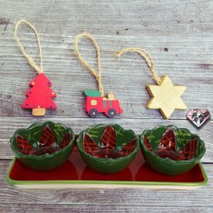 SCM Designs Christmas Holly Platter and Dip Bowls